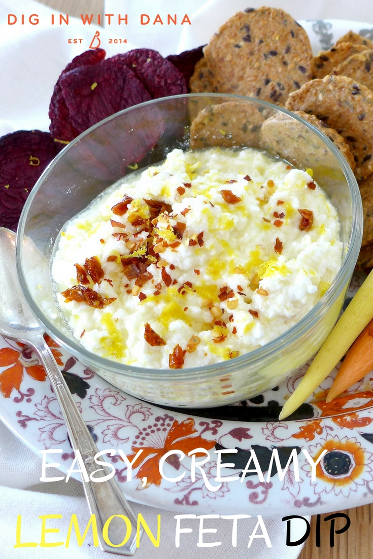 EASY CREAMY LEMON FETA DIP Recipe and variations at digiinwithdana.com
