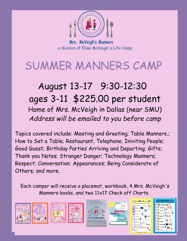 Mrs McVeighs Manners Camp at mrsmcveighsmanners.com