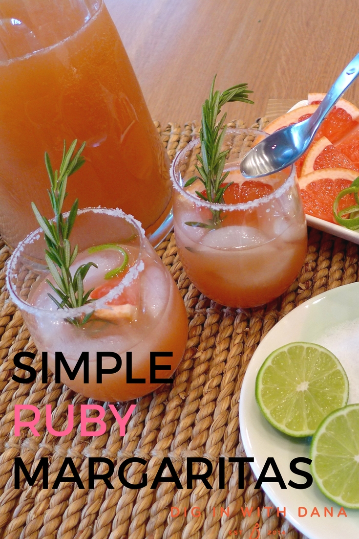 Simple Ruby Margaritas add a rosy hue to your favorite party drink. Variations and recipe at diginwithdana.com