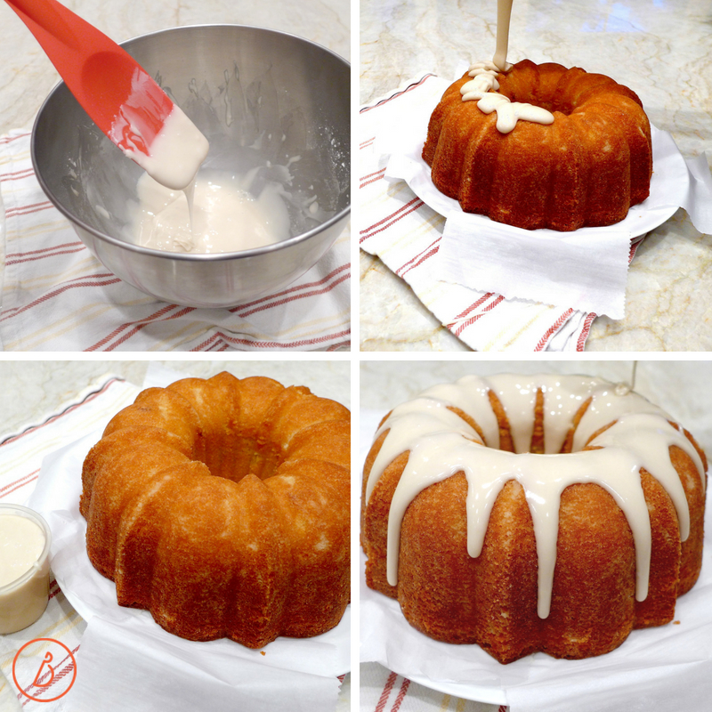 Adding glaze to Lemon Buttermilk Pound Cake at diginwithdana.com