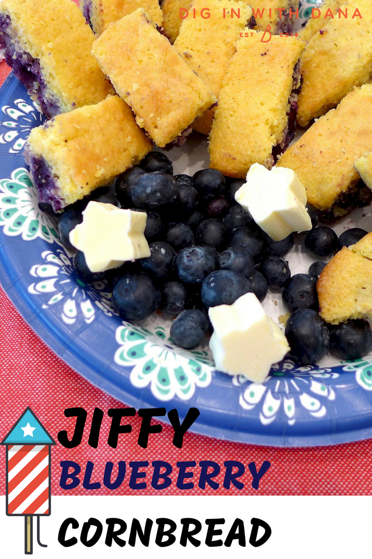 Jiffy Blueberry Cornbread Recipe and variations at diginwithdana.com Can be vegetarian and dairy free.