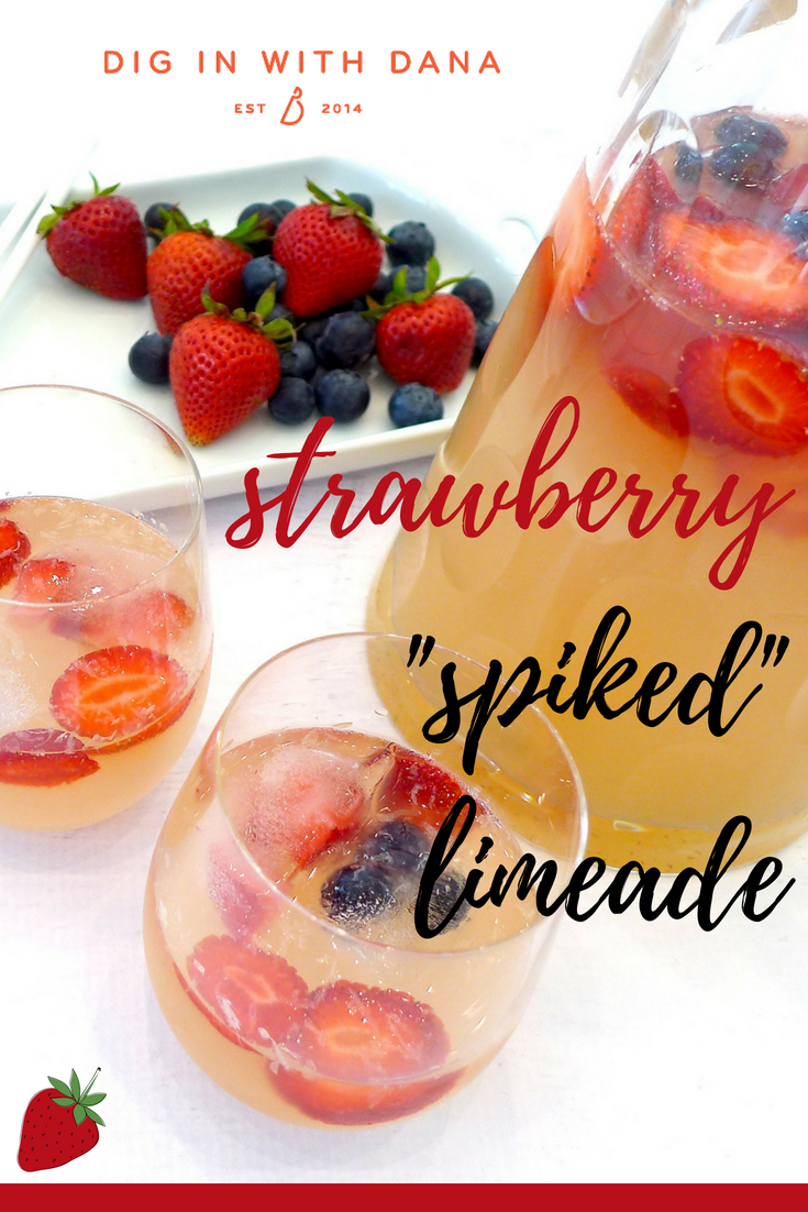 Strawberry Spiked Limeade (or Lemonade) recipe and variations at diginwithdana.com