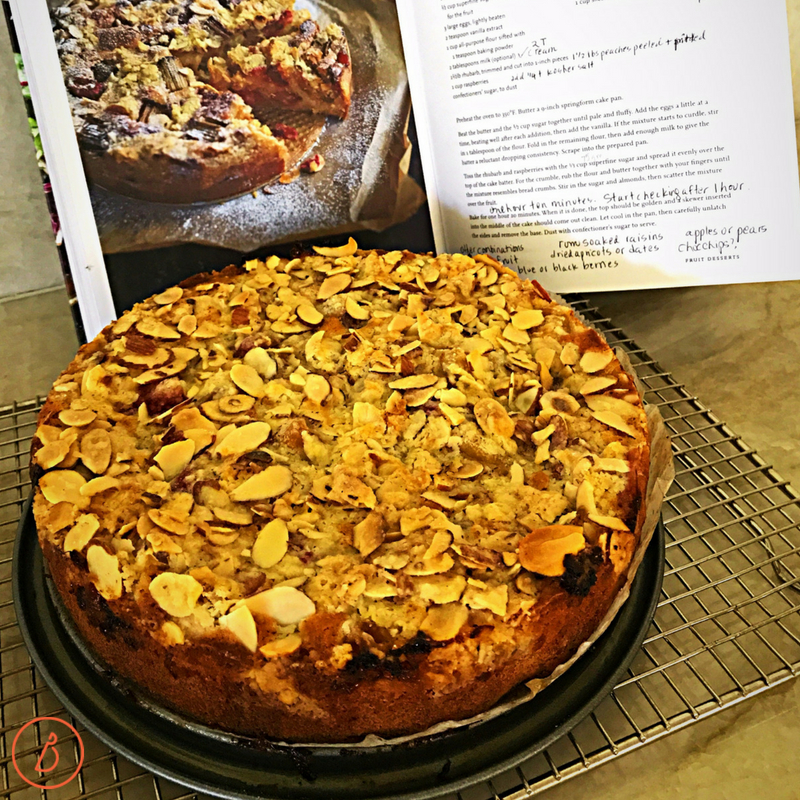 Inspired by Diana Henry's Rhubarb Crumble Cake to make this sweeter Peach Raspberry Crumble Cake at diginwithdana.com