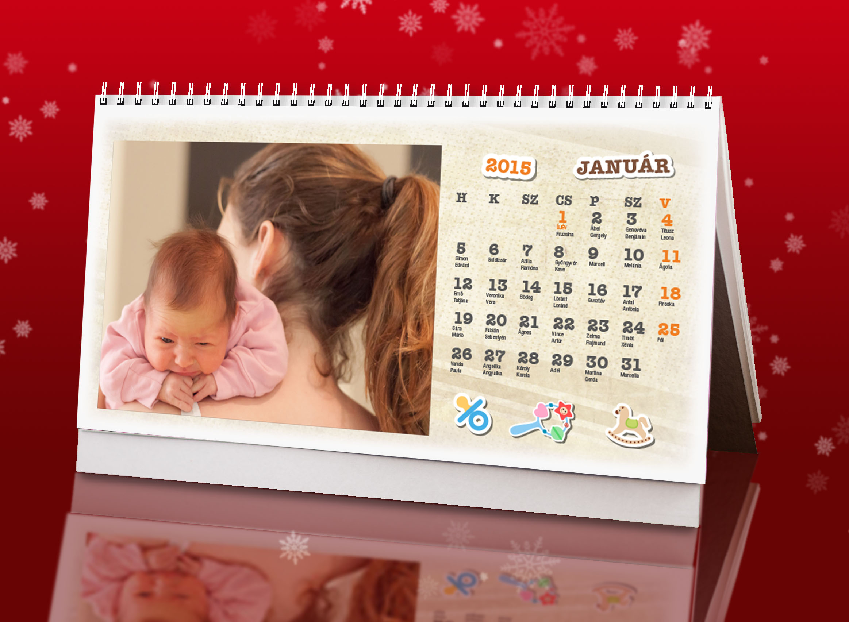 Egyedi fényképes asztali naptár