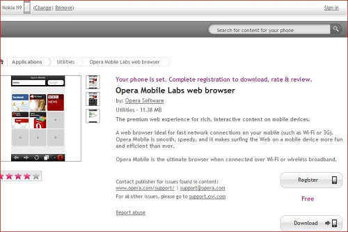 Opera Mobile for Nokia N9 is Officially Available at Nokia Store