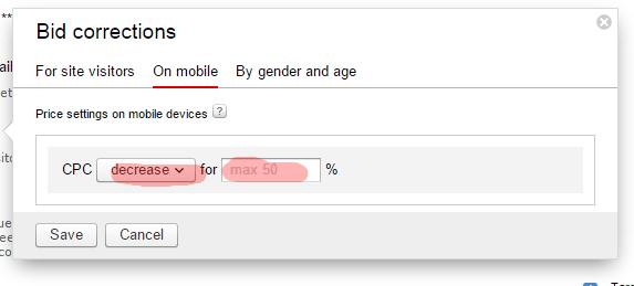 Campaign settings for mobile yandex bid settings