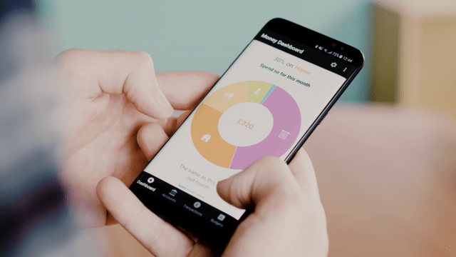 money dashboard app shown on a mobile app