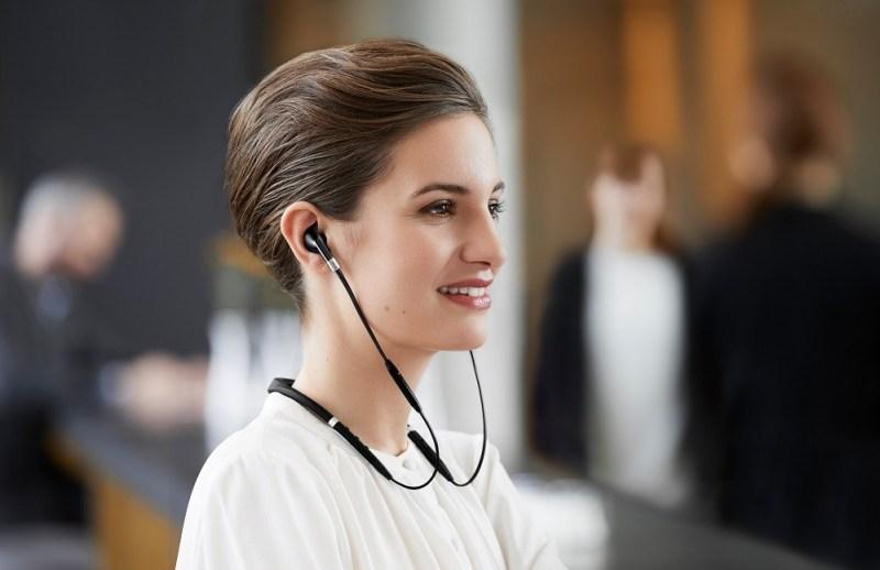 woman wearing Jabra e75 Headphones