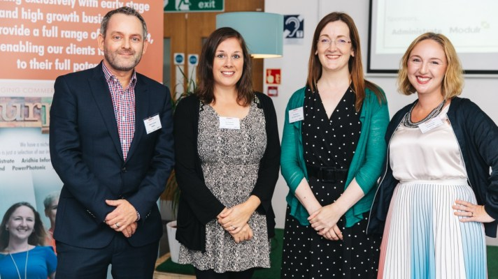 Left to right are Marcus Corner (Modulr), Jen Anderson (Administrate), Sam Ryhnas (Girl Geek Scotland) and Lisa Thomson (Purpose HR)