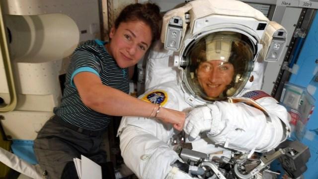 Astronauts Jessica Meir, left, and Christina Koch