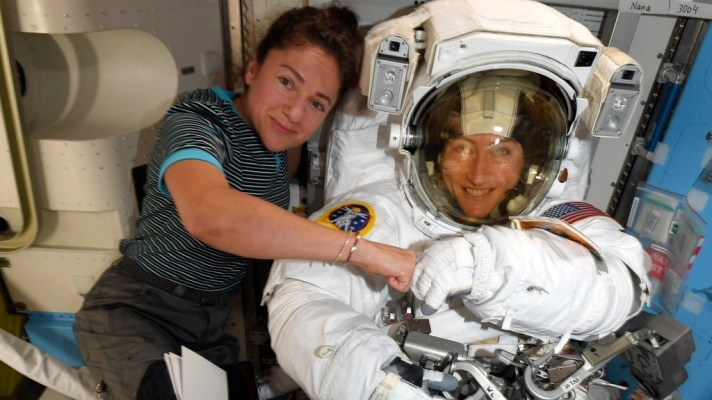 Astronauts Jessica Meir, left, and Christina Koch