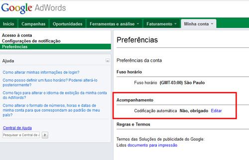 Configuração do Gclid do Google AdWords