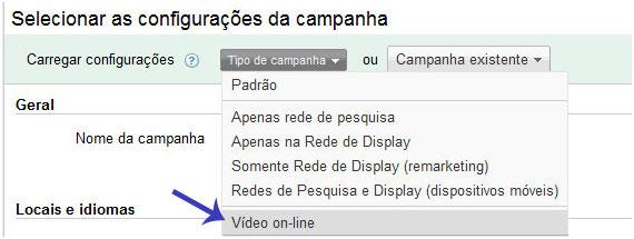 Criar Nova Campanha de Vídeo no Google AdWords