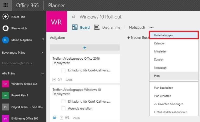 Darstellung der Office 365 Planner Oberfäche im Browser