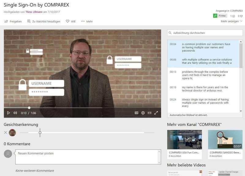 Microsoft Office Stream beispiel für die transkribierung von Sprache in Text
