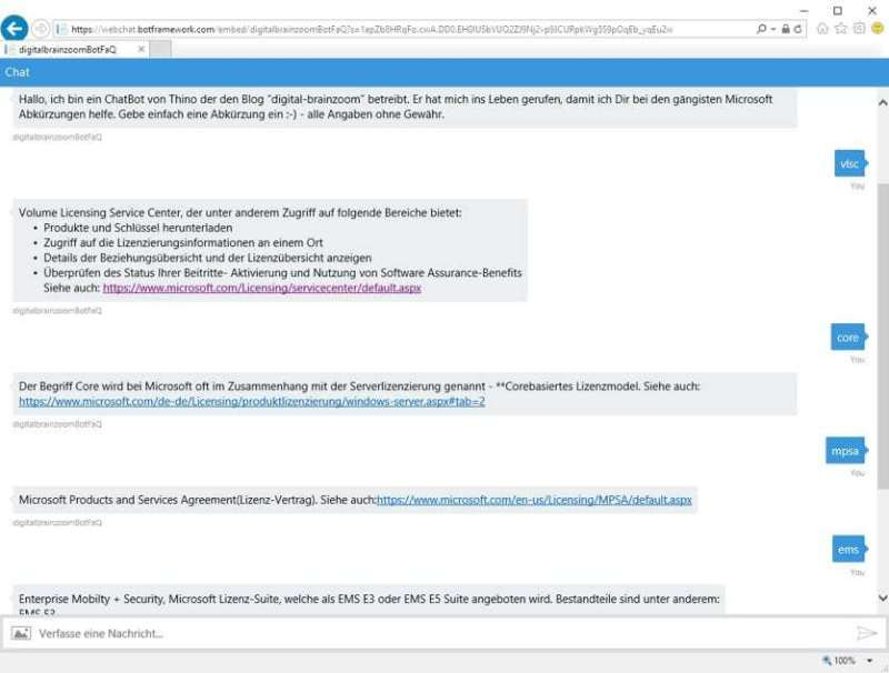 Mein QnA Maker ChatBot im Webbrowser
