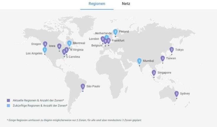 Regionale Aufteilung der Rechenzentren con Google weltweit
