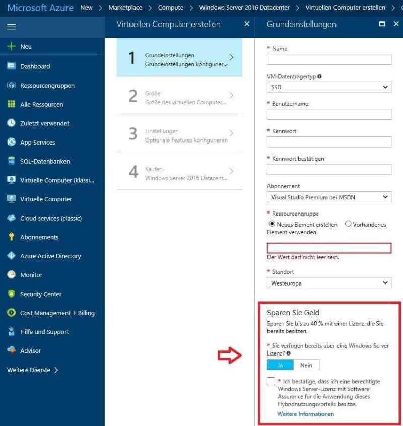 Aktivierung des Microsoft Azure HUB Programms bei der Nutzung von virtuellen VMs