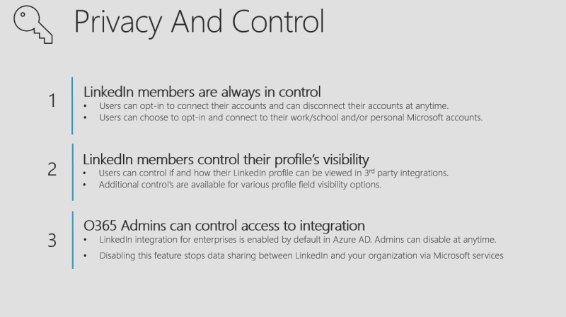 Office 365 LinkedIn Integration Privacy and Control