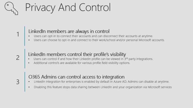 Die Darstellung zeigt die Privacy und Control Optionen von Linkedin in Office 365