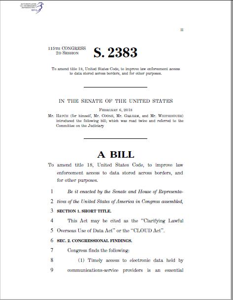 Vorschaubild zu dem US Congress Cloud Act S 2383 Dokument