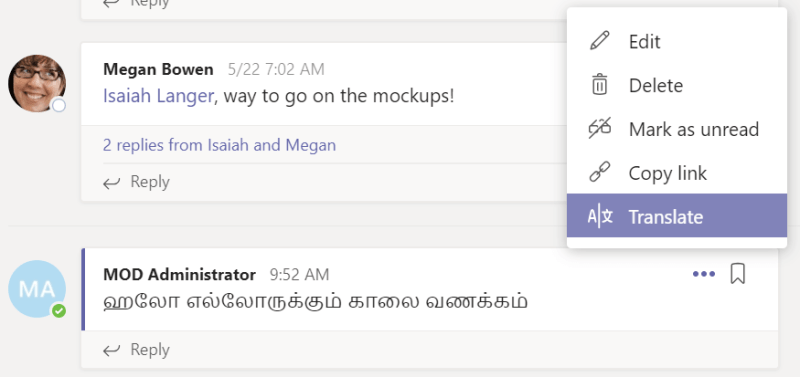 How to work more efficiently when translating messages within Microsoft teams