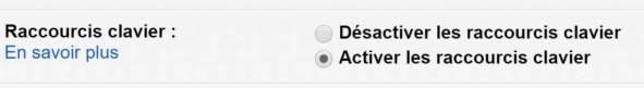 Gmail au profit de la productivité individuelle - Raccourcis clavier paramètres