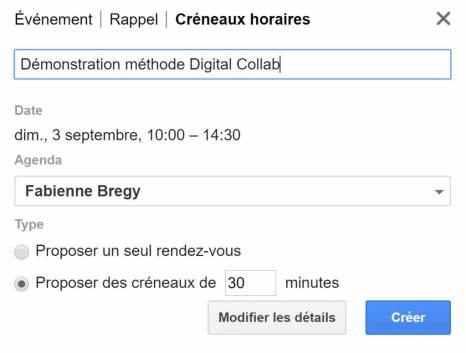 Gérer la prise de vos rendez-vous avec la fonction créneaux horaires de Google Agenda
