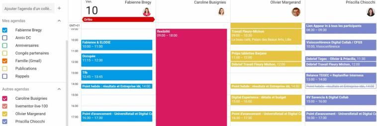 Google Agenda : Trouver une plage horaire libre sur l'ensemble de l'équipe
