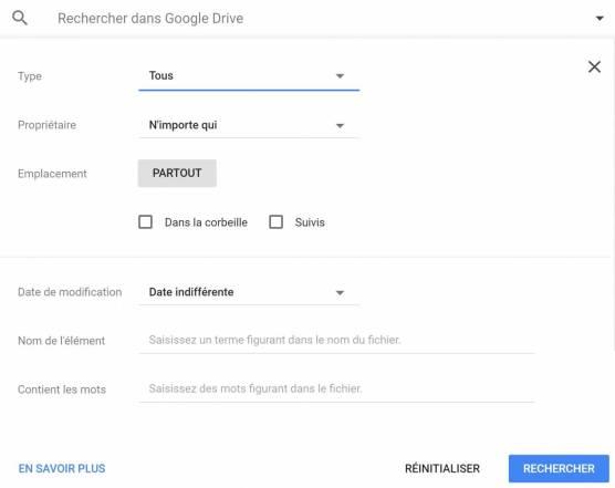 Google drive : Barre de recherche
