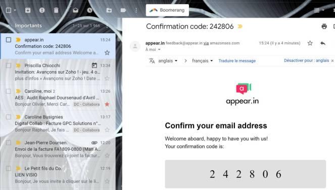 boite mail et code de vérification appear.in