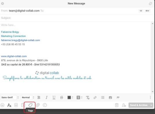 Front Apps : rédaction d'un message + Tags