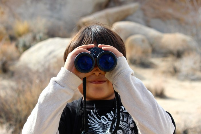 Young boy looking through a pair of binoculars