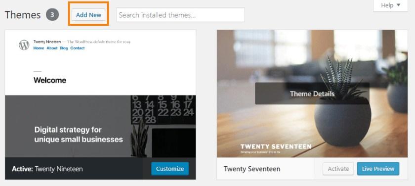 Screenshot of the add new theme button in WordPress