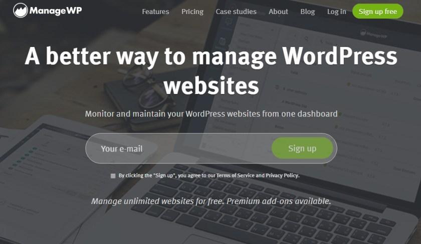 Screenshot of the managewp.com homepage