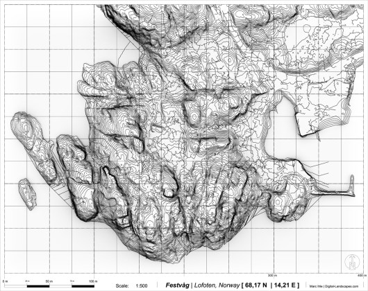 Research Study: digital Terrain Design Information Model (TDIM) | multiscalar Data Integration and Processes of Terrain Analysis | Grafics & Data: Marc Ihle | sources UAV and open source Geodata: kartverket.no