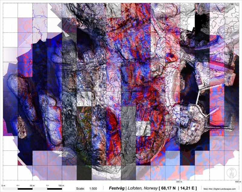 Research Study: digital Terrain Design Information Model (TDIM) | multiscalar Data Integration and Processes of Terrain Analysis | Grafics & Data: Marc Ihle | sources UAV and open source Geodata: kartverket.no