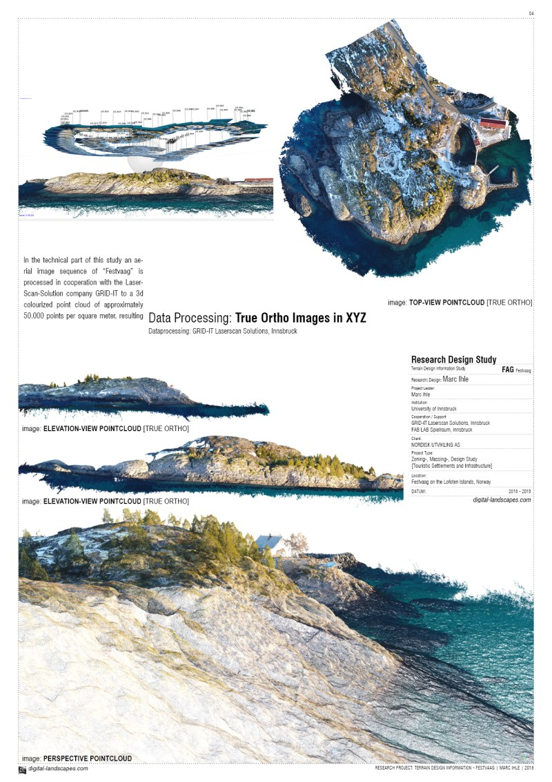 NEGOTIATING ARCTIC TERRAIN | Design Proposal for Touristic Infrastructures on the Peninsula of Festvaag | Data Processing: GRID-IT | 2018