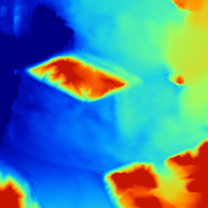 Terrain Sample Kronebreen | DTM5m | Elevation | Size of Tile: 10 x 10 km | Data Source: Norwegian Polar Institute | Image: Marc Ihle
