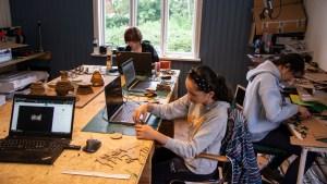 Reuse of cardboard boxes and cartons. A digital design- and fabrication workshop at Makerspace Vesterålen, Stokmarknes   Sommerskole Hadsel Kommune 2021   Course & Foto: Marc Ihle, Digital Landscapes