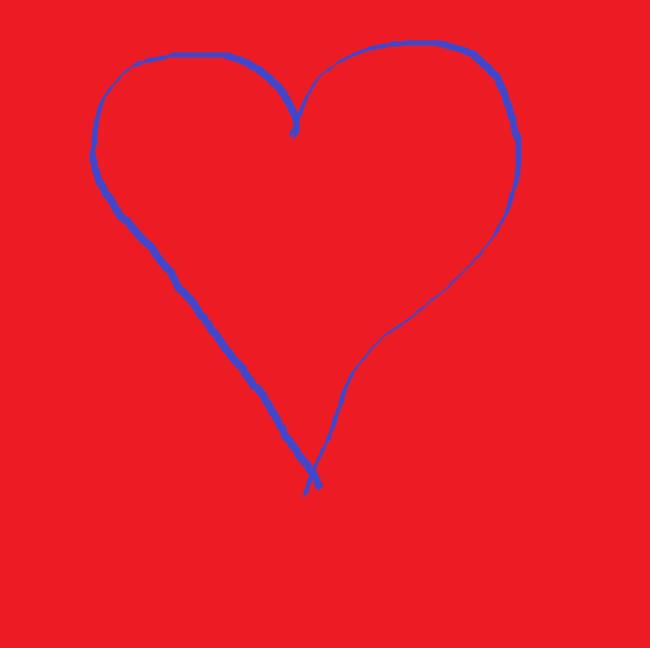 coeur bleu sur fond rouge symbole d'amour et de bienveillance dessiné lors d'un Team Building Fresque digitale télétravail