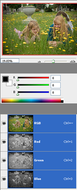 1. A color image with the RGB channels palette open