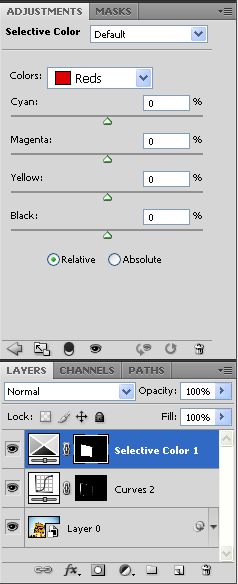 Selective Color adjustment layer and its mask based on the previous selection.