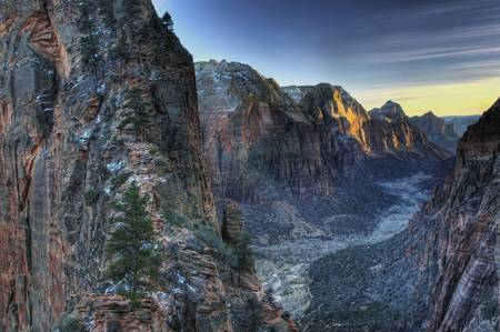 Winter Dusk and Angel's Landing Zion National Park by James Crotty