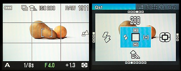 A look at the shooting screen and quick set screen