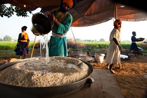 Image: Nihangs, Sikh spiritual warriors, prepare breakfast: Punjab, India