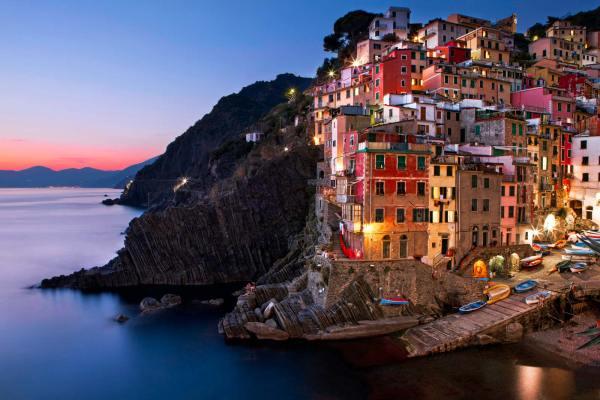 Riomaggiore Cinque Terre Italy at Dusk | James Brandon