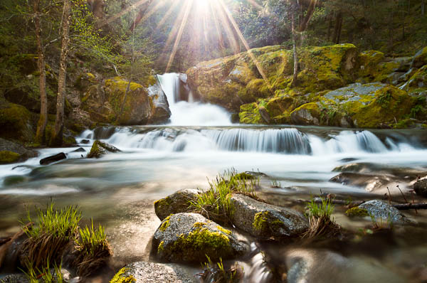 waterfall photography at sunset