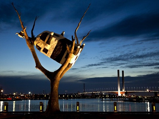 Cow in a tree, Docklands, Melbourne, VIC