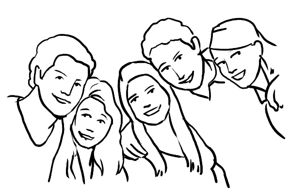 five people leaning in
